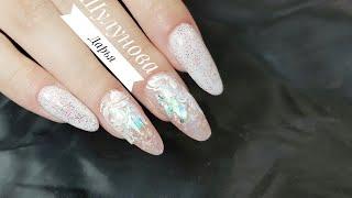 Аквариумный маникюр в белых тонах/Зимний дизайн ногтей/Шулунова Дарья