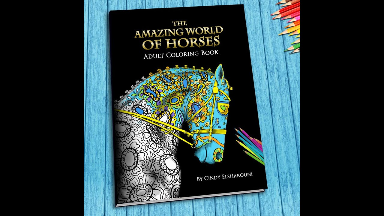 Horse Adult Coloring Book Flip Through