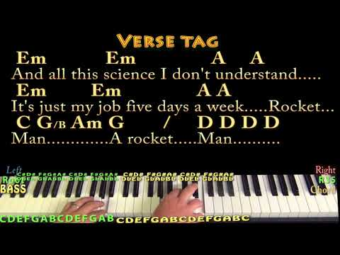 Rocket Man Elton John Piano Cover Lesson In Em With Chordslyrics
