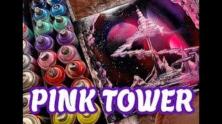 PINK TOWER SPRAY PAINT ART by Spray Art Eden スプレーペイントアートエデン thumbnail