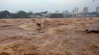 Guy surfing an overflowing river - 984453