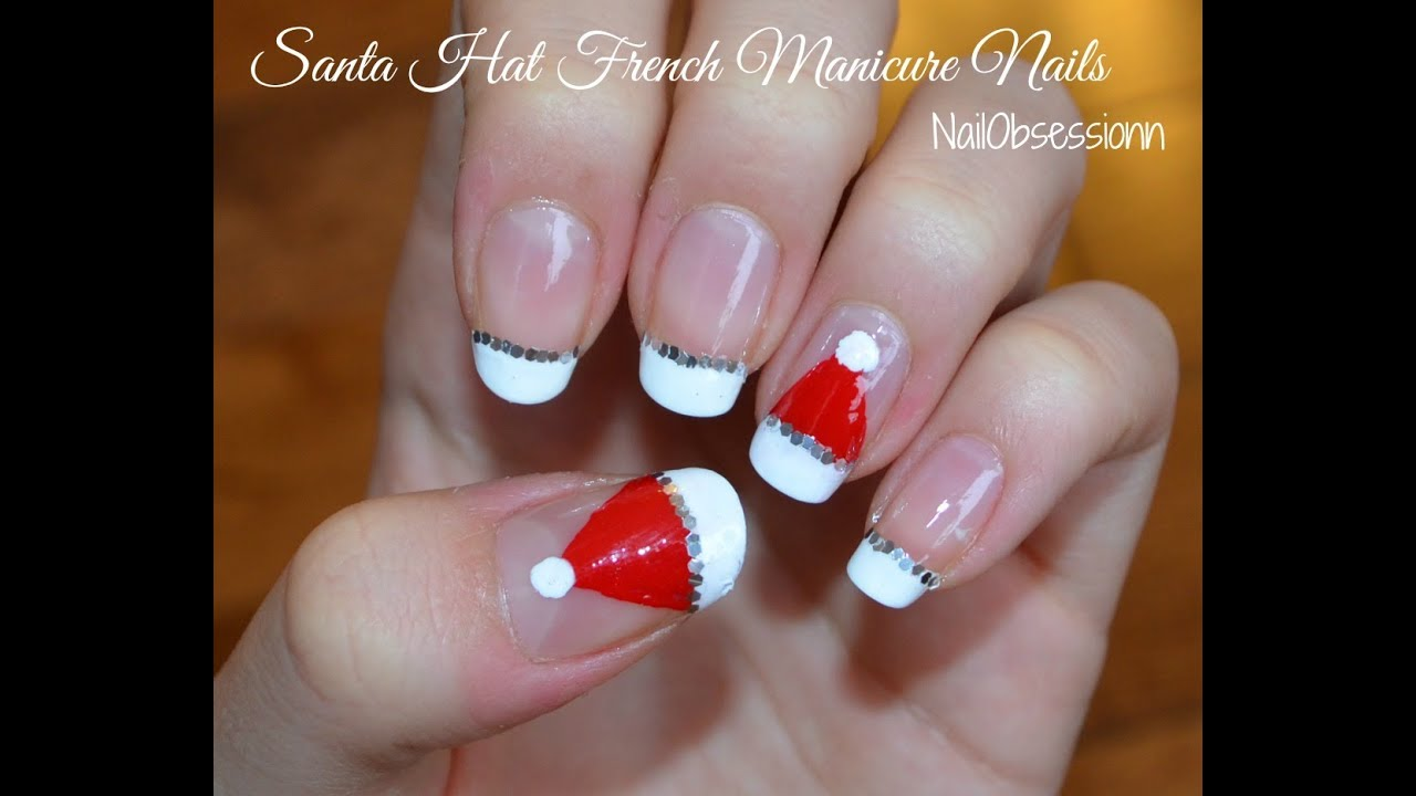 Easy Santa Hat French Manicure Nails For Christmas