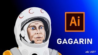 How to draw space human ~ Draw Gagarin with Illustrator. On 12 Apri...