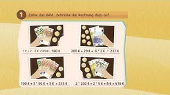 Rechnen mit Geld - Euro Geldbetrag - Einkaufen auf Markt ★ Mathematik Klasse 3