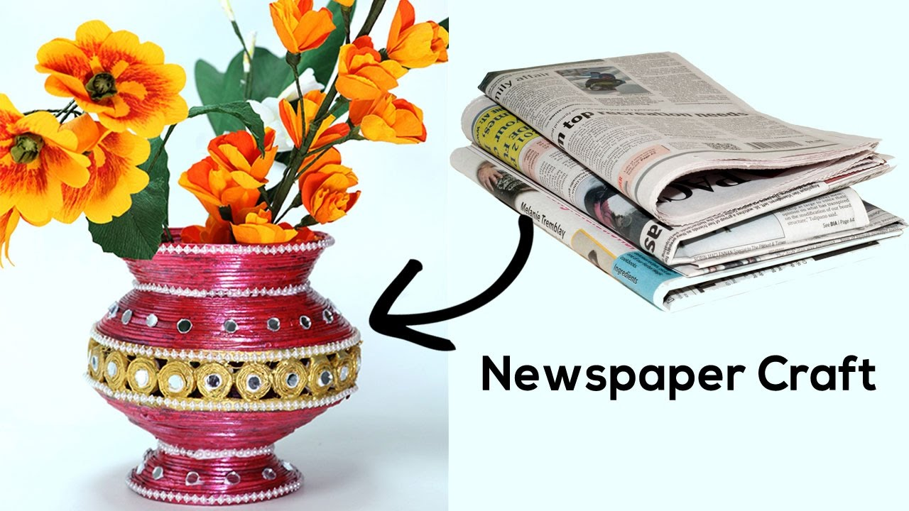 Best out of waste diy flower vase with newspaper craft for Best out of waste step by step