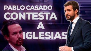 Pablo Casado contesta a Iglesias en la moción de censura.