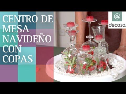 Centro de mesa con copas | DIY Decoración Navidad