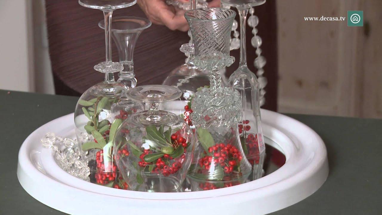 Centro de mesa con copas  DIY Decoracin Navidad  YouTube