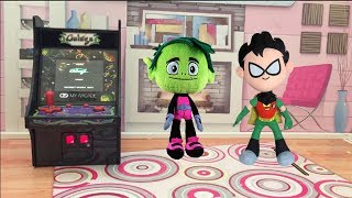 Teen Titans GO! Robin plays with Beast Boy's Video Game Galaga from My Arcade