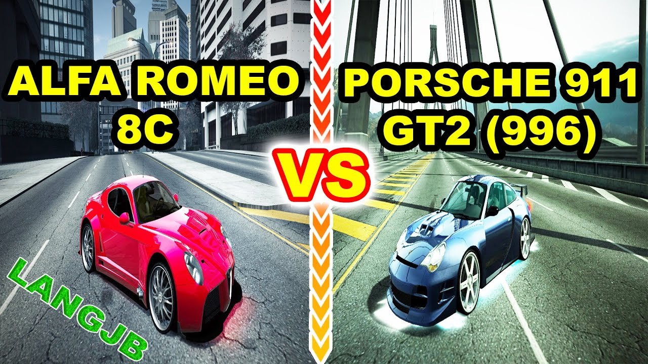 nfs world alfa romeo 8c competizione vs porsche 911 gt2 996 langjb youtube. Black Bedroom Furniture Sets. Home Design Ideas
