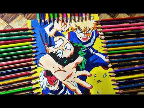 Drawing Izuku Midoriya, Bakugou and Todoroki [My Hero Academa] - Step By Step - Speed Drawing