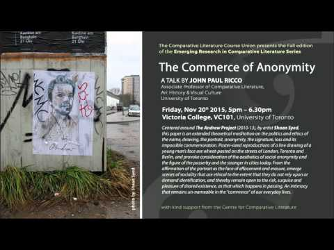 "John Paul Ricco's Lecture: ""The Commerce of Anonymity"""