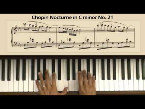 Chopin Nocturne No. 21 in C Minor, Op. Posth, B Piano Tutorial (with score)