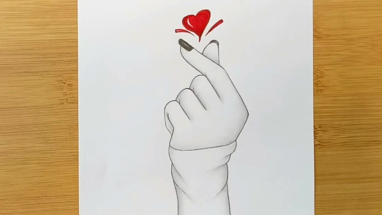 How To Draw A Tumblr Korean Heart Girl Hand Love Icon Youtube
