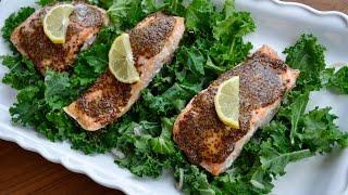 Honey Mustard Salmon and Kale Paleo Dinner Recipe