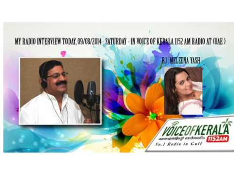 Radio Interview with Paulson Pavaratty by Meleena in Voice of Kerala Radio 1152AM, Dubai.