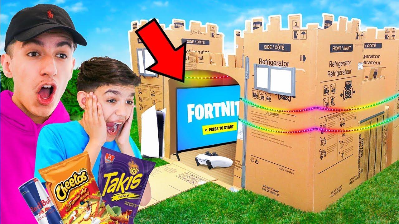 Brothers Build Insane Fortnite Gaming Setup Box Fort! 24 Hour Challenge!