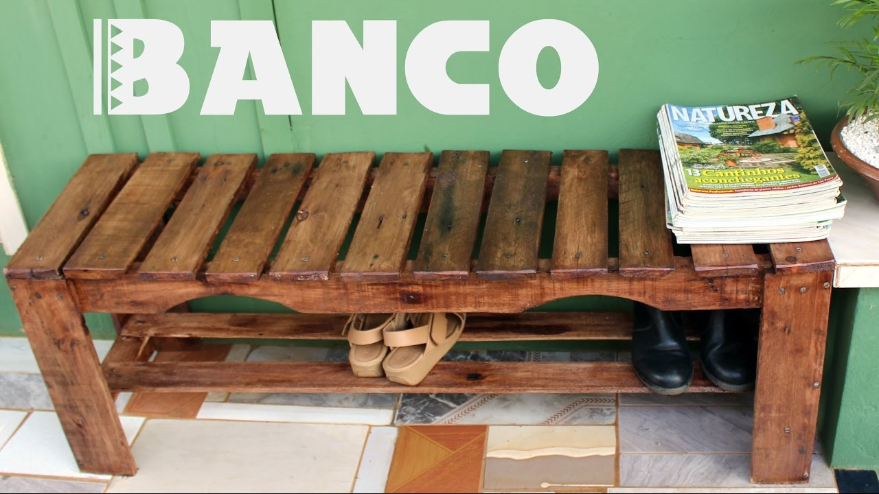 Banco sapateira de pallets tireidaca amba diy for Bancos de jardin de plastico