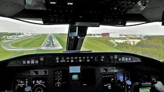 Cockpit View - Hard Approach & Landing in Luxembourg in a SAS CRJ-900 [OY-KFE]