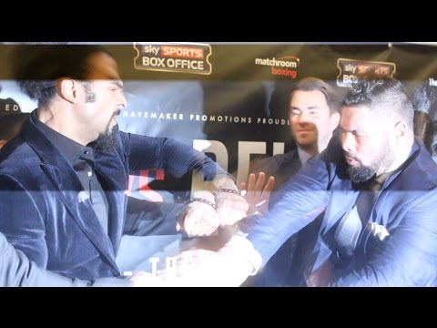 HEAVYWEIGHT DRAMA! DAVID HAYE & TONY BELLEW KICK OFF & ATTEMPT TO FIGHT AS A PUNCH IS THROWN!