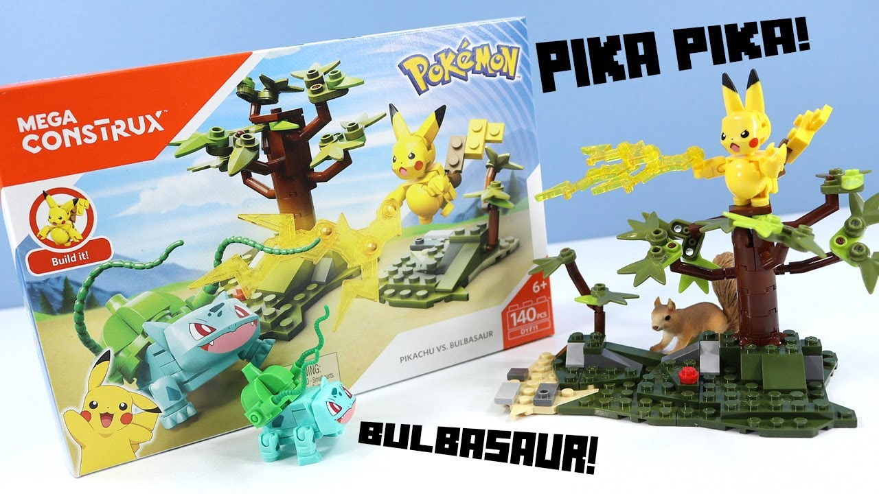 MEGA Construx Pokemon Pikachu vs  Bulbasaur Speed Build Review