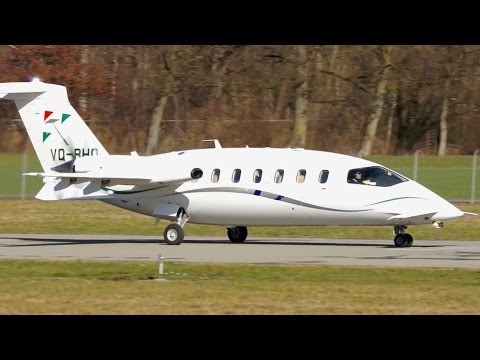 Piaggio P-180 Avanti VQ-BHO Take-Off at Bern
