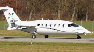 Piaggio P-180 Avanti VQ-BHO Take-Off at Bern