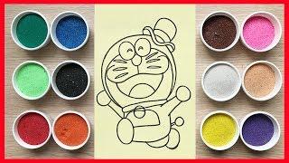 Đồ chơi trẻ em TÔ MÀU TRANH CÁT ĐÔRÊMON ảo thuật - Learn colors Sand painting toys (Chim Xinh)