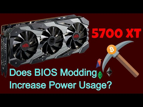 Does BIOS modding the Radeon 5700XT increase power usage when Ethereum mining