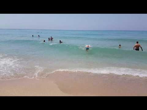 4K Vrachos Loutsa beach waves, near Parga Greece. Summer 2017