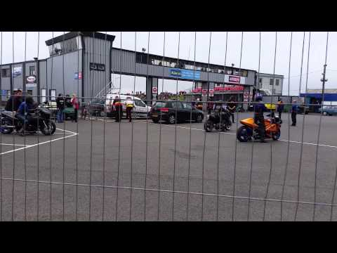 Alex is daydreaming  at the Santa Pod Race Track