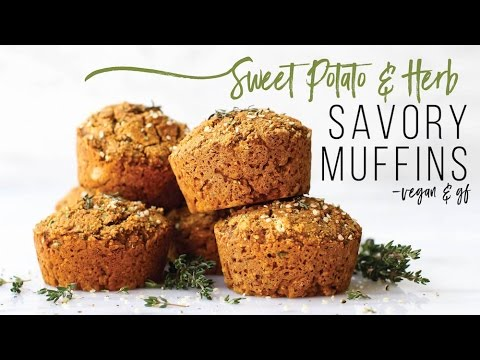 Sweet Potato & Herb Savory Muffins // vegan, gluten-free, oil-free