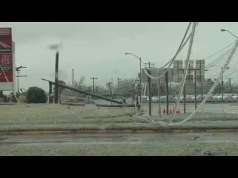 Ice Covered Power Lines Falling!!  Oklahoma Ice Storm 11-28-15