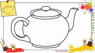 How to draw a teapot 5 EASY & SLOWLY step by step for kids, beginners, children