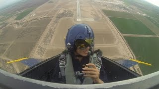 Female first gets ride with Blue Angels