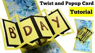 How to make Twist and Pop up Card Handmade Birthday Card Tutorial Pop up Birthday Card