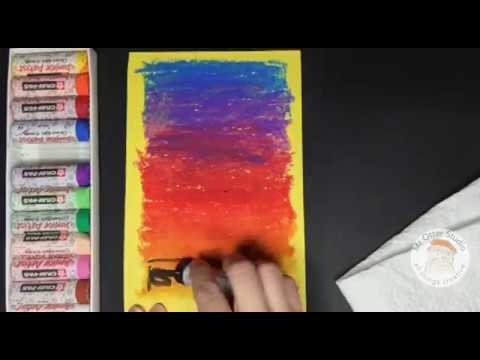 How To Draw A Colorful Sunset With Oil Pastels