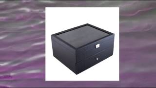 Carbon Fiber Pattern Glass Top Watch Case Display Box With High Clearance For Larger Watches Holds