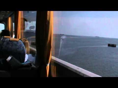 M2U00438 On bus entering Venice lagoon Kathy talking