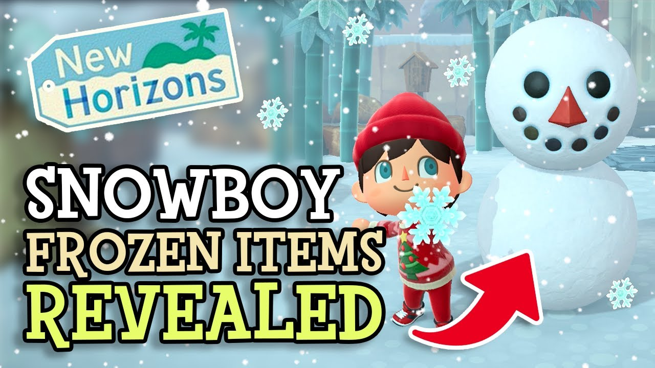 Animal Crossing New Horizons EVERY FROZEN ITEM REVEALED (Snowboy Recipes) ACNH Large Snowflake Guide