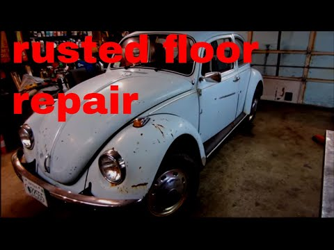 vw beetle rusted floor repair.and a ride in the 67 plymouth.