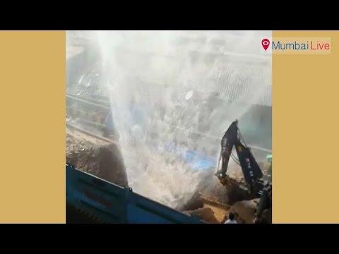 Pipeline broken due to Metro work | Mumbai Live
