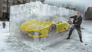 FROZEN LAMBORGINI in ICE CUBE! who will be the FIRST to feed - will receive IT!
