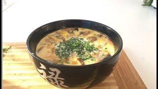 сырный суп(с грибами и копченой курицей)