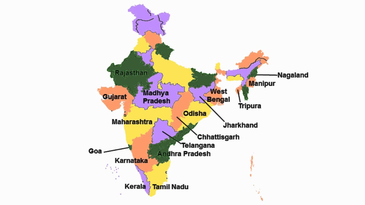India Map With All States.India States Song 29 States And 7 Union Territories Of India With