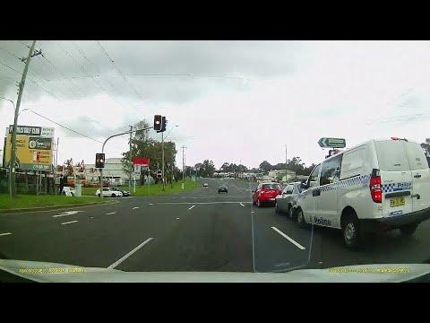 Police Car causes 3 car Crash - Prospect N.S.W - Caught on Dash Cam