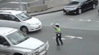Dancing policewoman in New York