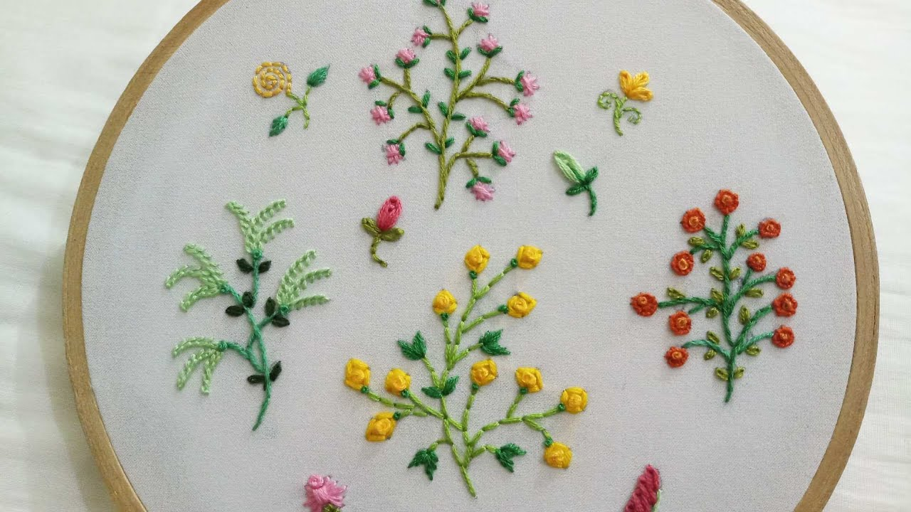 hand embroidery designs of 20 different small flower plants with easy  stitches