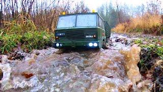 3D printed RC Truck Tatra 813 8x8 doing tsunami in the mud. Slow motion.