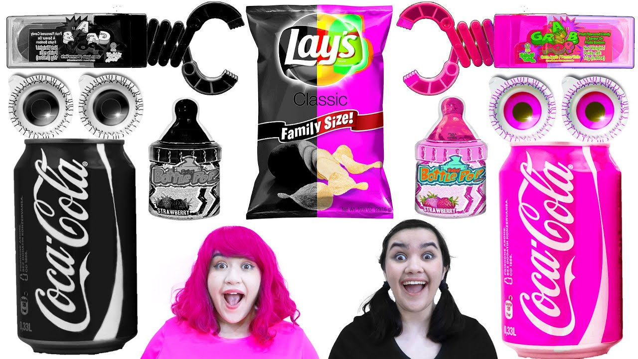 EATING ONLY ONE COLOR FOOD CHALLENGE | LAST TO STOP EATING BLACK VS PINK WINS BY CRAFTY HACKS